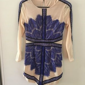 Nude mini dress with blue & black lace detailing